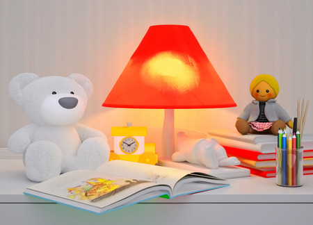possesses: Childrens toys, books, colored pencils, alarm clock, the lamp are located on a table.