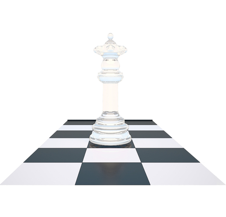chessboard: The chess white queen on a chessboard on white background.