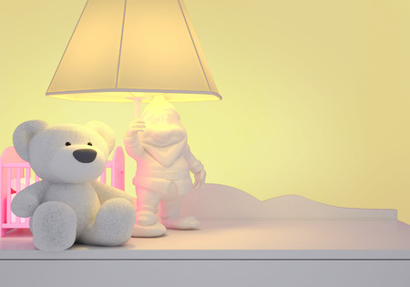 Childrens toys, the lamp are located on a table.