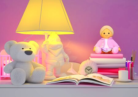 possesses: Childrens toys, books, colored pencils, alarm clock, the lamp, milk in a glass are located on a table.