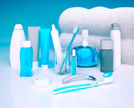 genitali: Set per l'igiene mattina. Dentifricio, spazzola, sapone, balsamo, filo dente. Archivio Fotografico