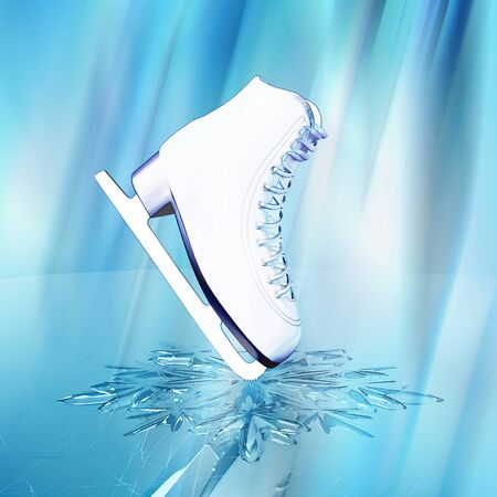 skating rink: Close up view of  The skates for figure skating and a snowflake on skating rink ice.