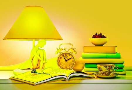 tea lamp: Lamp, books, hours, cup of tea, plate of cherry.