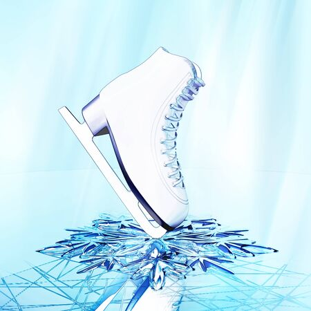 Close up view of  The skates for figure skating  on skating rink ice. Standard-Bild
