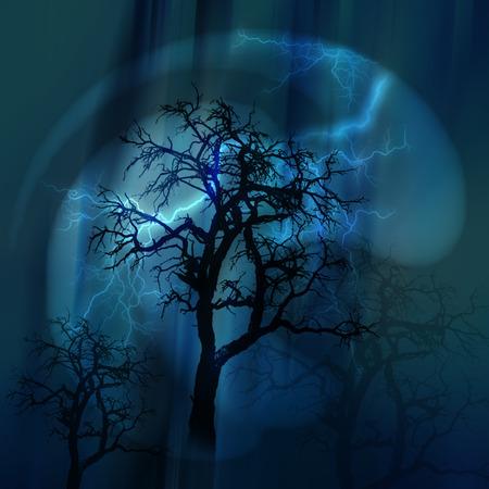 lightnings: Lightnings at night.Heavy rain. Silhouettes of trees. Stock Photo