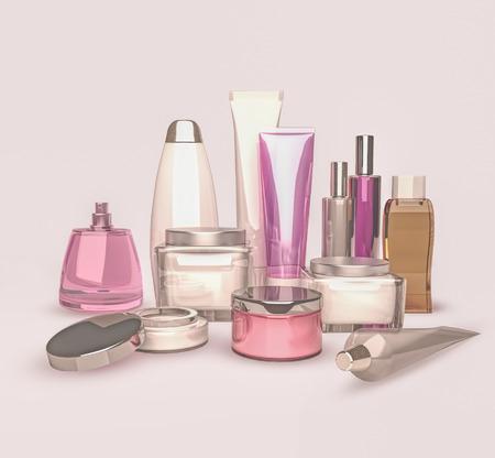 cosmeticos: Diariamente, cosm�tica cuidado de la belleza. Crema de cara, crema para los ojos, suero y b�lsamo labial. Protecci�n de la piel.