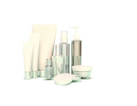 eye cream: Daily, beauty care cosmetic. Face cream, eye cream, serum and lip balm. Skin care,  isolated. Stock Photo