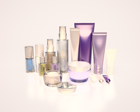 eye cream: Daily, beauty care cosmetic. Face cream, eye cream, serum and lip balm. Evening Care of skin, hair. Stock Photo