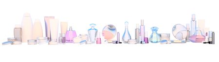 basic care: Set of make-up products and beauty care cosmetic on white background, isolated.