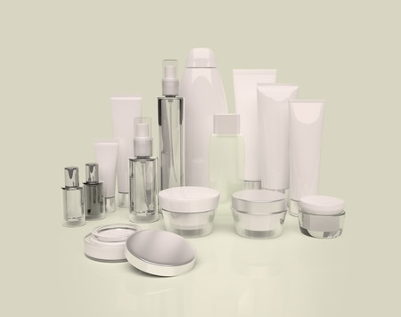 cosmetics collection: Daily, beauty care cosmetic. Face cream, eye cream, serum and lip balm. Evening Care of skin, hair. Stock Photo