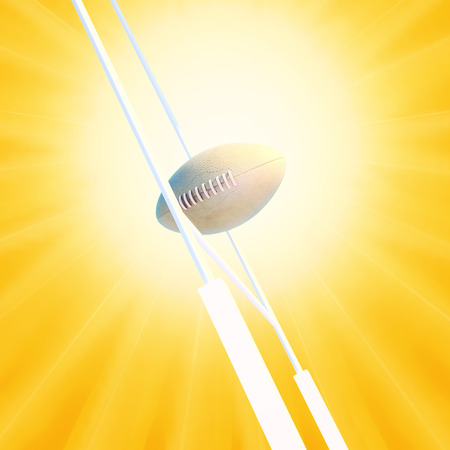 goalpost: Rugby ball against rugby goalpost and sunrise. Stock Photo