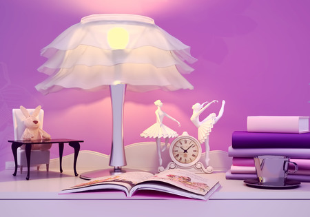 possesses: Childrens toy, book, the lamp are located on a table. Fairy tale for the night.