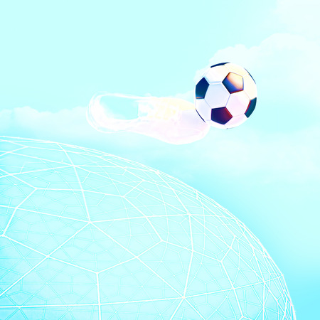 soccerball: Concept or conceptual 3D soccer ball in with a blue sky background metaphor to sport, goal, competition, play, team, fun, stadium, meadow, activity soccerball. Stock Photo