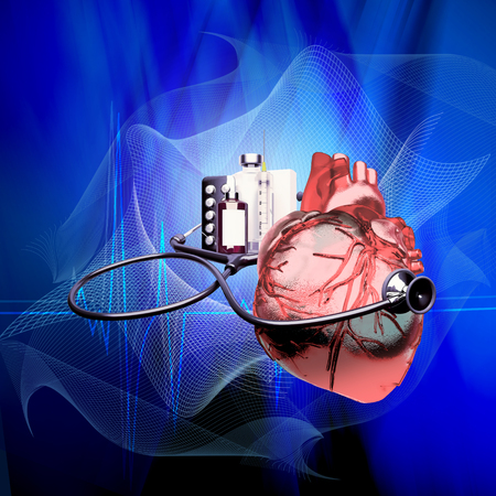 medical syringes: Stethoscope on heart, and also tablets and injections on a blue background. Medical background - cardiology.