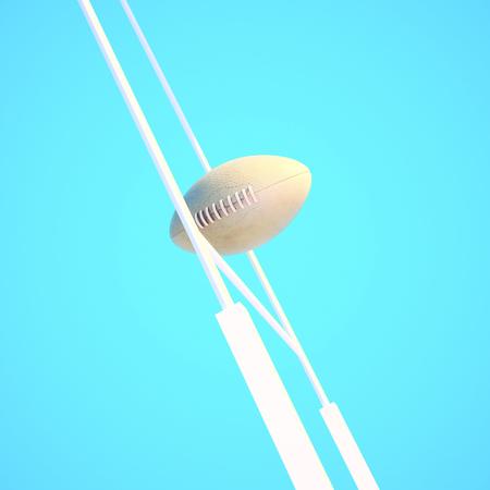 encajes: pelota de rugby contra el poste de la porter�a de rugby y el cielo. Foto de archivo