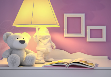 possesses: Childrens toy, book, the lamp are located on a table.