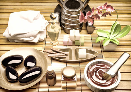 towel  spa  bathroom: Spa Setting with Essence Oil,Natural Soap,Soft Towel.