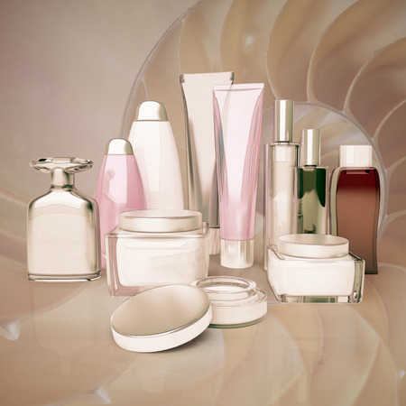 basic care: Daily, beauty care cosmetic. Face cream, eye cream, serum and lip balm, skin care. Stock Photo