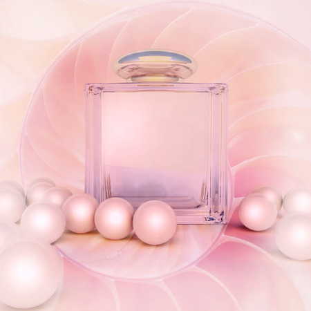 perfume spray: Perfume in a glass bottles and pearl beeds on pink.
