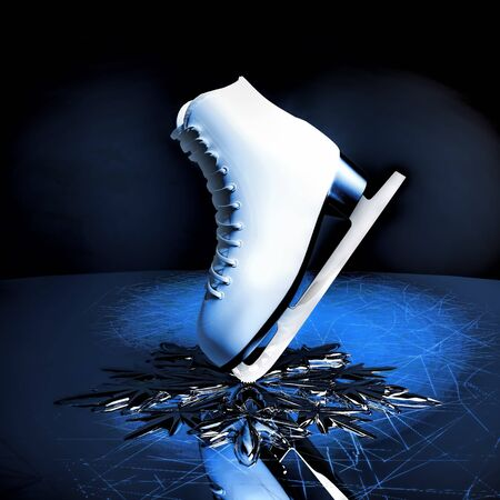 Close up view of The skat for figure skating and a snowflake on skating rink ice.
