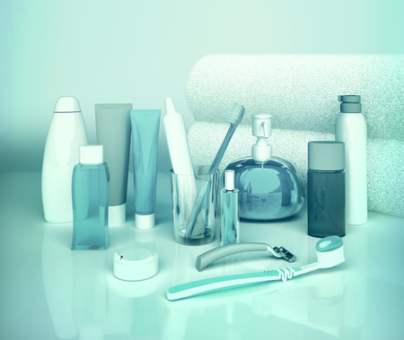 genitali: Set for morning hygiene. Toothpaste, brush, soap, balm, tooth thread.