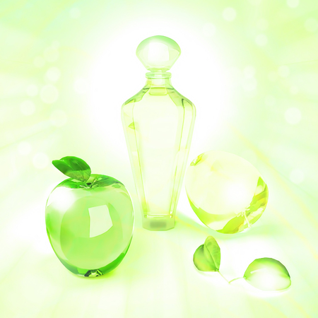 perfumer: The composition of the various  fruit shape and perfume  on a green background.
