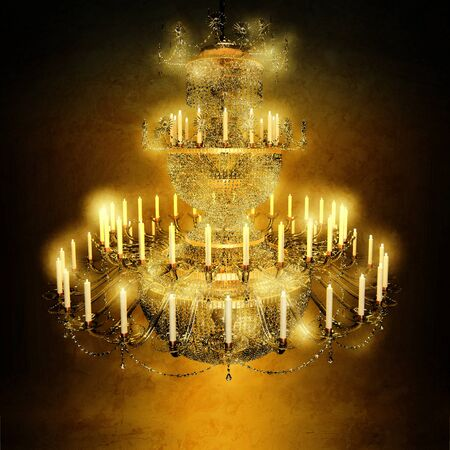 diamond candle: Chandelier, crystal, candles, celebration. Stock Photo