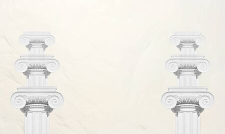 ionic: Historical columns on white background.