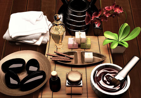 pampering: Pampering. Spa procedures with essence oil, natural soap, soft towel.