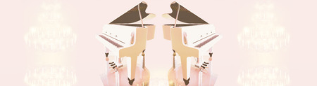 crystal chandelier: Grand piano, crystal chandelier  on a pink background. Stock Photo