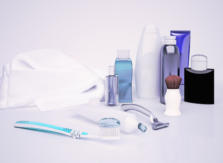 genitals: Set for morning hygiene. Toothpaste, brush, soap, balm, tooth thread.