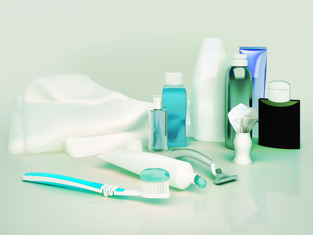Toothpaste, brush, soap, balm, razor, shaving brush, towel, shampoo,perfume. Standard-Bild