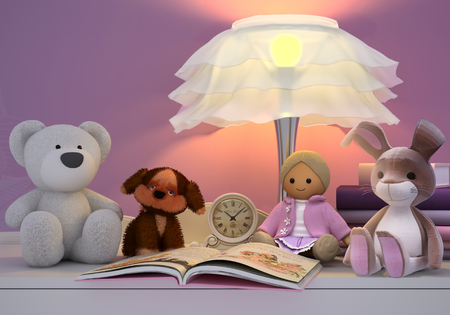 possesses: Childrens toys, books, clock, the lamp are located on a table.