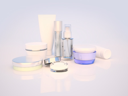 cosmetics products: Daily, beauty care cosmetic. Face cream, eye cream, serum and lip balm. Skin care.
