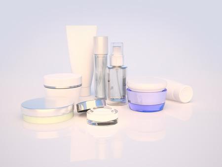 Daily, soins de beauté cosmétique. Crème visage, crème pour les yeux, le sérum et le baume pour les lèvres. Soins de la peau.