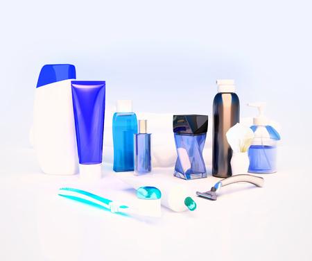 genitali: Dentifricio, spazzola, sapone, balsamo, rasoio, pennello da barba, asciugamani, shampoo, profumi. Archivio Fotografico