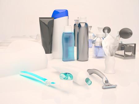 genitali: Dentifricio, spazzola, sapone, balsamo, rasoio, pennello da barba, asciugamani, shampoo, profumi, specchio. Archivio Fotografico
