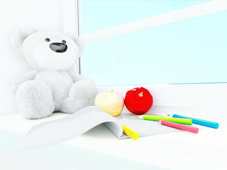 windowsill: Teddy bear, apples, album and colored pencils on the windowsill. Stock Photo