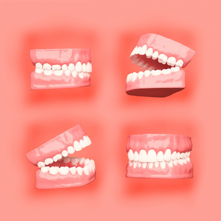 periodontal: 3D teeth or tooth illustration, perspective views in mouth. Stock Photo
