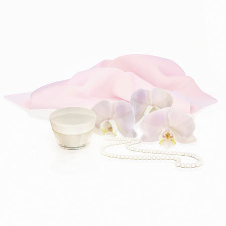 string of pearls: White orchid flowers, string of pearls and jar of moisturizing face cream for spa treatment.