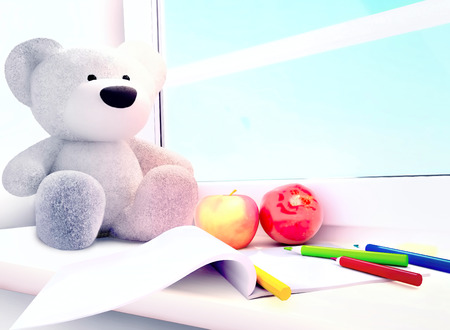 windowsill: Teddy bear, apples, album, colored pencils on the windowsill.