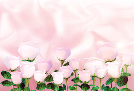 pink satin: Pale pink roses on the background of light pink satin.