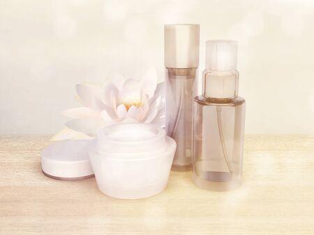 cremas faciales: productos para el cuidado de la piel con flor de loto.