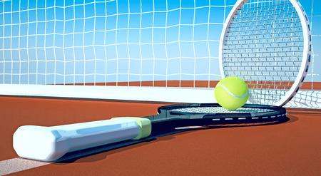tennis clay: Tennis; racket; tennis clay court, sky