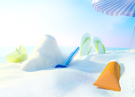 cremas faciales: Beach scene with sunscreen, bucket and spade against ocean background.