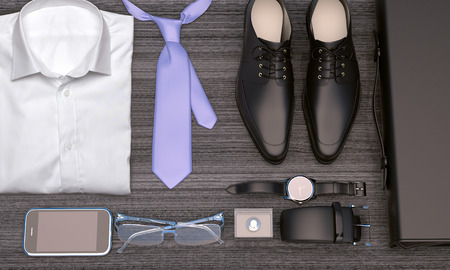 Men's business clothes and accessories on wooden background; mens accessories