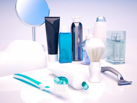 cremas faciales: Fije para la higiene de la ma�ana. cuidado de la cara del hombre. Foto de archivo