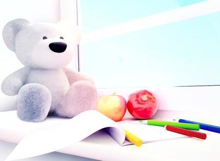 colored pencils: Teddy bear, apples, album, colored pencils on the windowsill.