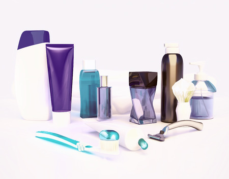 cremas faciales: Set for morning hygiene. Toothpaste, brush, soap, balm, tooth thread.