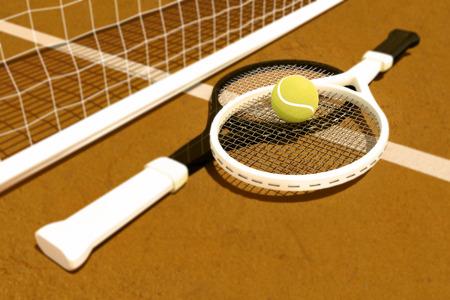 tennis clay: Tennis; racket; tennis clay court Stock Photo